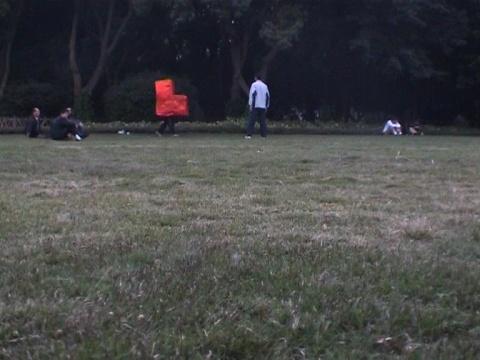 静屏截帧:杨健 《椅子人》 2004,单频录像(彩色、有声) 2'22''  (图片提供:空白空间)