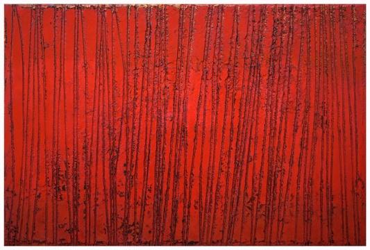 《A-42》 木板布面大漆、岩彩、综合材料 200x300cm 2017
