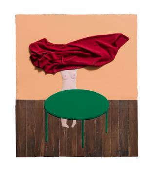 《掀桌布的裸女-mini》35×30cm板上综合材料 2018