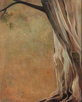 尹朝辉《蔓松》100x80cm布面蛋彩、油画、丙烯 2017