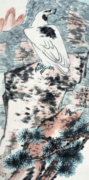 李苦禅《白鹰》136×69cm 中国画