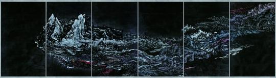 杨诘苍《飘逸的城市》 280×160cm×6绢上水墨及矿物颜料 布面粘裱  2008 北京民生现代美术馆藏