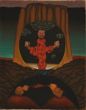 李津 《光环组画之二》100×65cm水墨、布面设色 1993