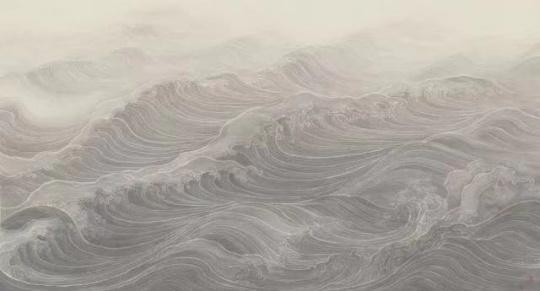 《听涛》52x97cm纸本水墨 2018
