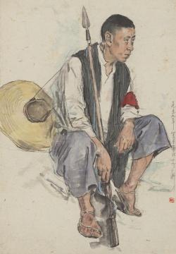 李斛《赤卫队长》56.5X39.5cm 纸本彩墨 1959