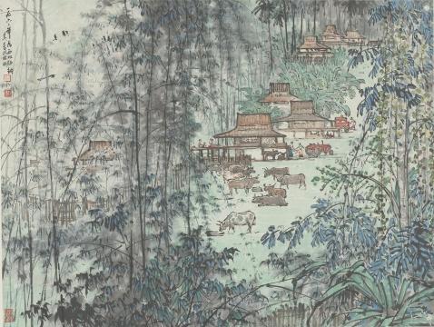 宗其香《西双版纳》67×88.5cm 纸本彩墨 1962