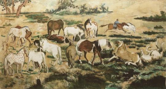 沙耆《春郊十七骏马图》84×156cm 布面油画 1990
