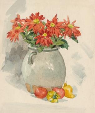 张光宇《瓶花》29.5×25cm 纸本水彩 1938