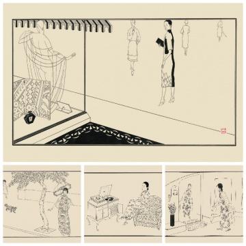 张光宇1920年代用白描创作的上海滩女子风尚小像