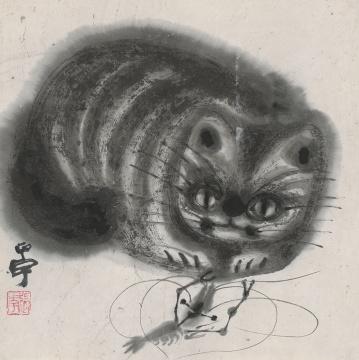 张正宇《猫》33.5X33.5cm 纸本彩墨