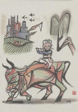 张仃《小放牛》46×33cm 纸本彩墨 1960年代