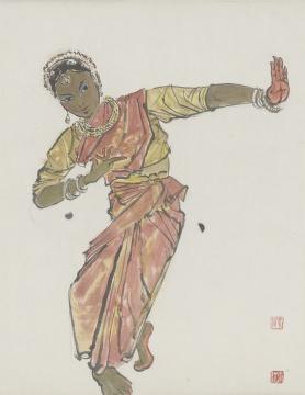 张仃《舞女》67X53cm 纸本彩墨 1960年代