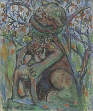 陈钧德《石狮子》77X64cm 布面油画 1981