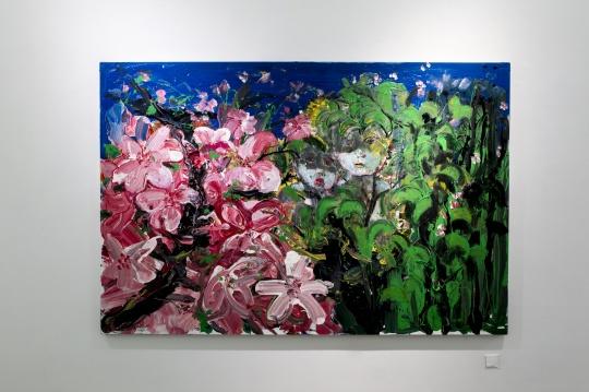 《淖中花 — 大桃花》 布面油画 200 x 300cm 2018