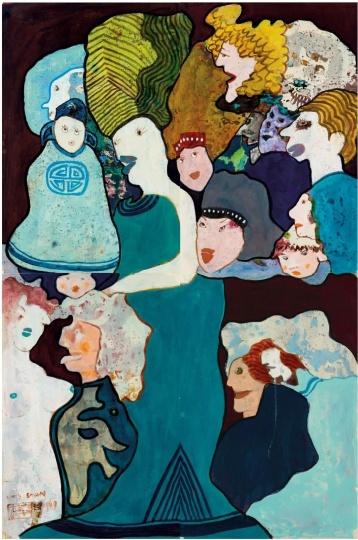 《金玉满堂》152×102cm 纸本丙烯 1969 ©艺术家家族珍藏