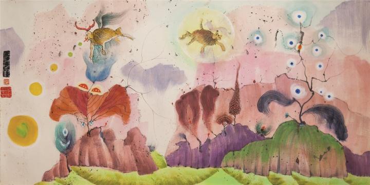 《无题》(海底花园奇景)69×136cm 纸本彩墨 1972 ©BAO私人收藏