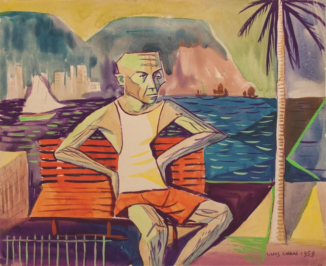 1959年,陈福善的自画像《无题》(港口傍的自画像)38×47cm 纸本水彩 1959 ©LYC私人收藏