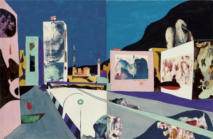 《湾仔街景》76.5×116cm 纸本拼贴 综合材料 1976 © 艺术家家族珍藏