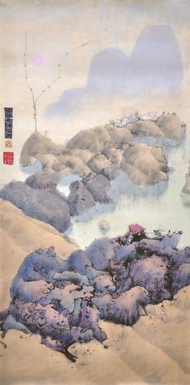 《无题》(粉红暮色的奇幻风景)121×60cm 纸本彩墨 1972 © BAO私人收藏