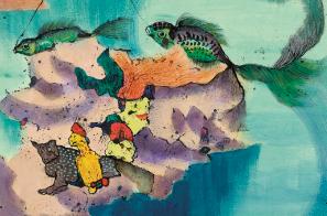 《无题》(上钓)局部 136×68.5cm 纸本彩墨 1972 © 艺术家家族珍藏