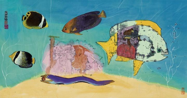 《无题》(五鱼游)74×134cm 纸本彩墨 1979 © 艺术家家族珍藏
