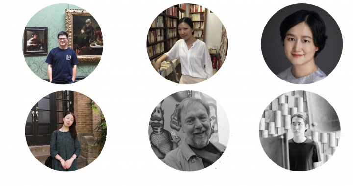 从左到右,从上到下:学术发表人李世庄博士、邱敏博士、沈奇岚博士、杨简茹博士、大卫·卡里尔教授,策展人于海宁