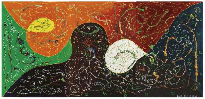 《天象图》192×402cm 布面丙烯 1987 © 张颂仁收藏