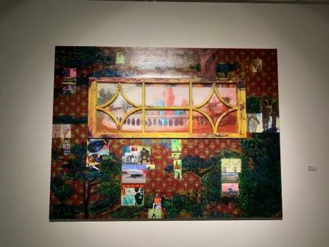李青《支点运动》150x200x6cm 油彩、丙烯、喷墨打印、有机玻璃、亚麻布、铝塑板、木 2017