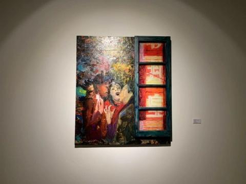 李青《邻窗·邦皇》114x99x7cm 油彩、丙烯、有机玻璃、木 2017