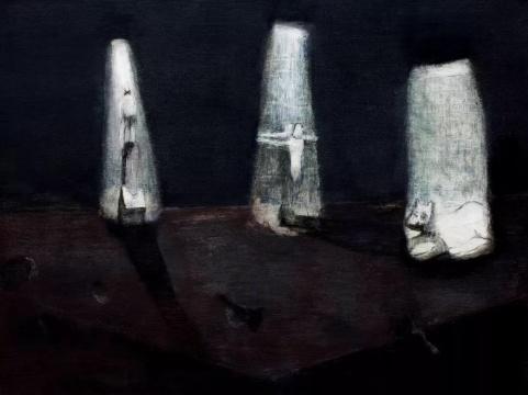 王焕青《三个隐藏的秘密》 160×120cm 布面油彩、丙烯 2014