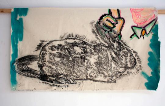 于艾君 《指兔》64.5x114.5cm布面油画2018