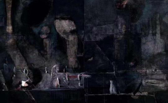 王焕青 《一万年一夜》 280×230cm×2布面油彩、丙烯2014