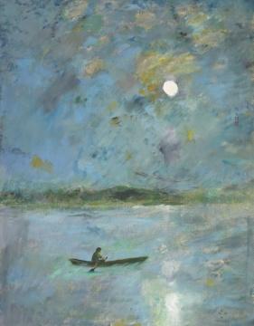 颜文樑《月夜泛舟》48x63cm 油画布面 1983