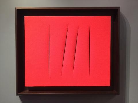 丰塔纳 《空间概念·等待》 48×55cm 水漆画布 荆轲 1965  估价:700万-1000万元