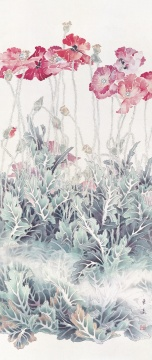 《虞美人》 86cm×38cm 1985年 绢本设色