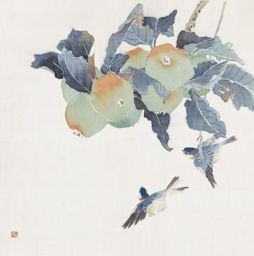 《苹果小鸟》 36cm×36cm 1985年 绢本设色