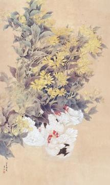 《园边即景》 148cm x 88.5cm 1984年 纸本设色