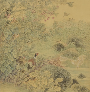 《溪谷鸣禽》 143cm×140cm 2009年 绢本设色