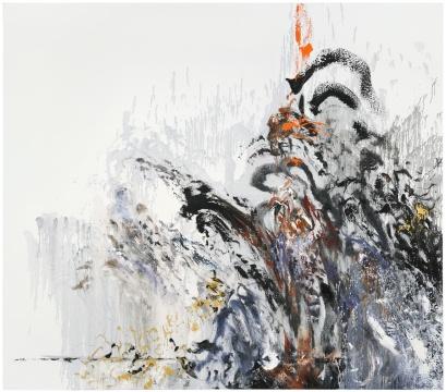 Maggi Hambling_Wall of water 13, war_Oil on canvas_198x226cm_2012. Copyright Maggi Hambling, courtesy Maggi Hambling Studio