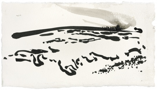 Maggi Hambling_Covehithe, late afternoon_Ink on paper_16x29cm_2005. Copyright Maggi Hambling, courtesy Maggi Hambling Studio