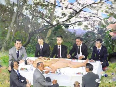 刘小东 《樱花树下》195x260cm 布面油画 2007
