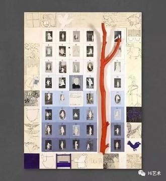 克里斯蒂安·西尔万 《LES ABSENCES DE LUCY》 150×120cm 丙烯、拼贴画、照片、印度墨水、画布 1992  图片来源:克里斯蒂安·西尔万2号FACEBOOK,©克里斯蒂安·西尔万