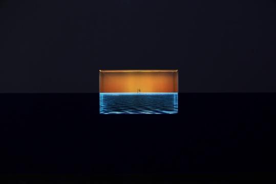 《终》8'44'' 循环、彩色、无声 单频影像装置 65寸透明屏、定制水箱 2017