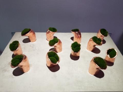 王凝慧《无题》每件13×直径7-10cm 陶瓷、铜、苔藓 2019