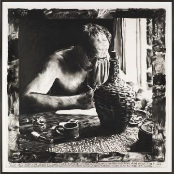 瑞纳斯·凡·德·维尔德《琼安,请一定来拜访我》纸本炭笔 160×160cm 2016 独版,图片由国王画廊提供