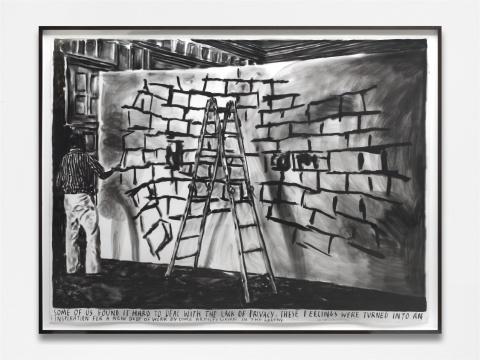 瑞纳斯·凡·德·维尔德《我们中的一些人发现隐私缺乏保护确是一个很棘手的问题》纸本炭笔,150×200cm 2016 独版,图片由国王画廊提供