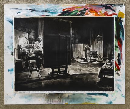瑞纳斯·凡·德·维尔德《黑暗的地下墓穴遍布整个殖民地》纸本炭笔,220×300cm 2016 独版,图片由国王画廊提供