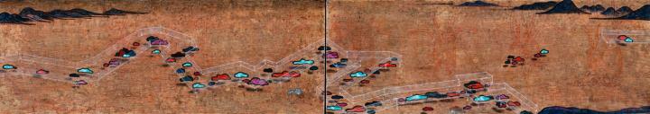 郝建涛 《混沄之往》 30×85cm×2 布面综合材料 2016