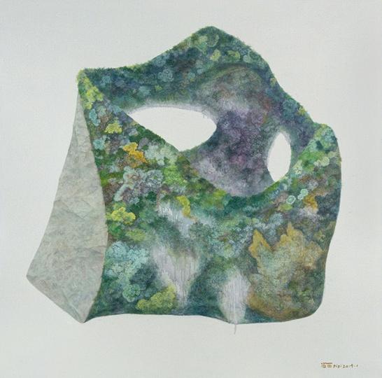 《被显露的石头》 100×100cm 布面油画 2019