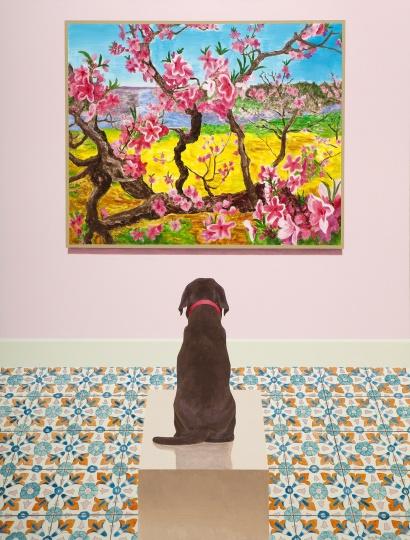 房培鑫 《观看中国现当代艺术—周春芽》 130×100cm 布面油画、丙烯 2018